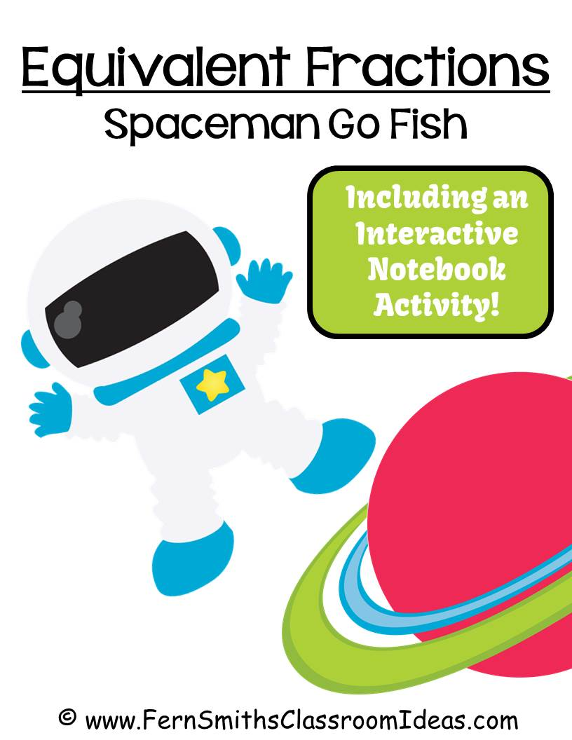 Fern Smith's Classroom Ideas Freebie Friday ~ FREE Go Spaceman Equivalent Fractions Go Fish Card Game
