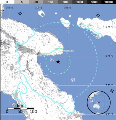 Epicentro sismo de 6,0 grados, Papúa Nueva Guinea, 01 de Febrero 2013
