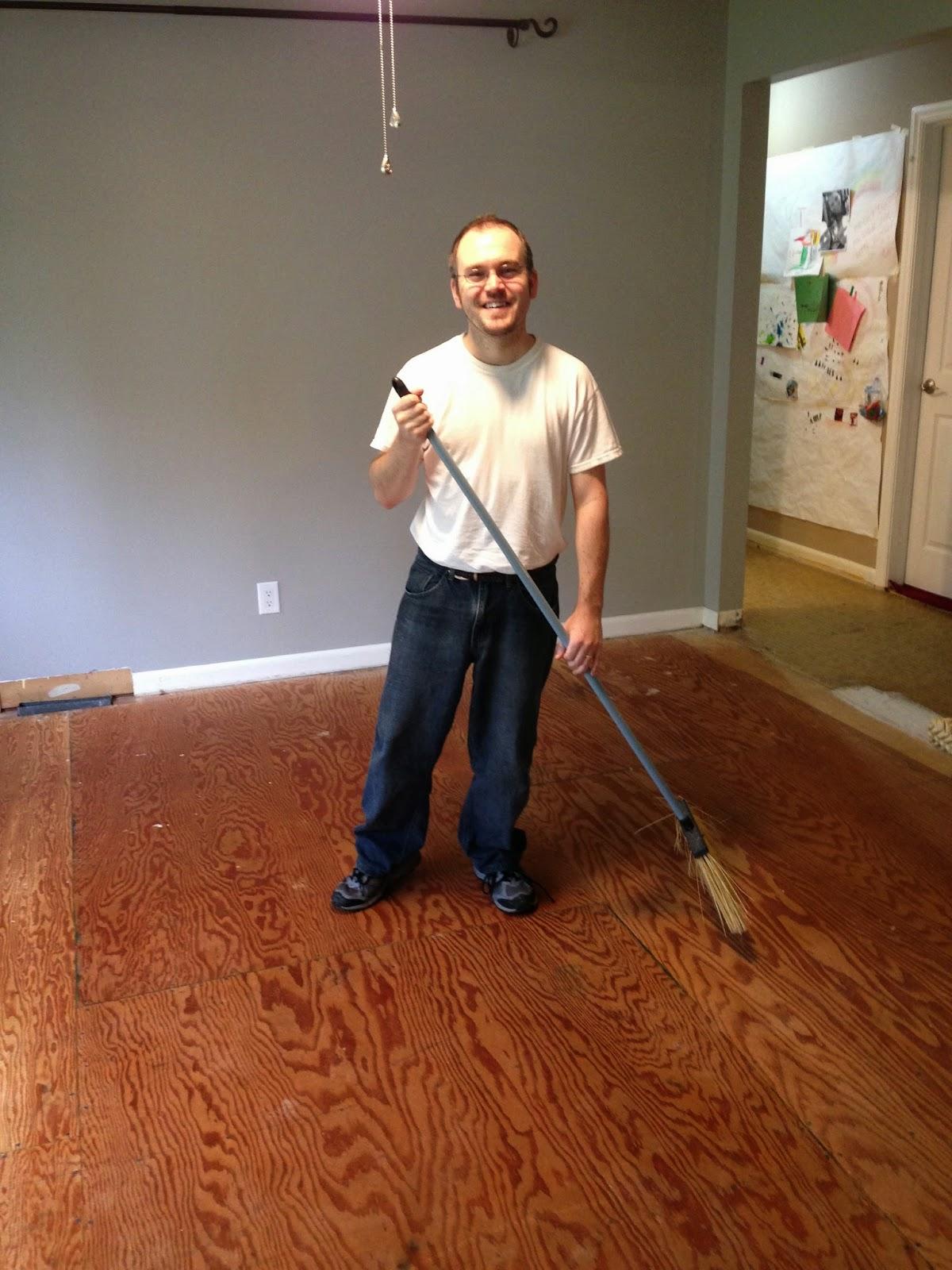 Josh Day with broom