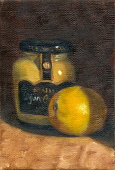 Oil painting of a lemon beside a jar of Maille Dijon mustard.