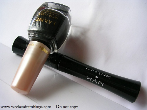 lakme nyx eyeliner liquid black dark brown swatches reviews