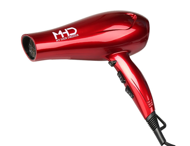 MHD Hair Dryer 1875W Professional Blow Dryer Tourmaline Titanium Negative Ionic Dryer Cool Shot Button 2 Speed and 3 Heat Settings Red US Plug
