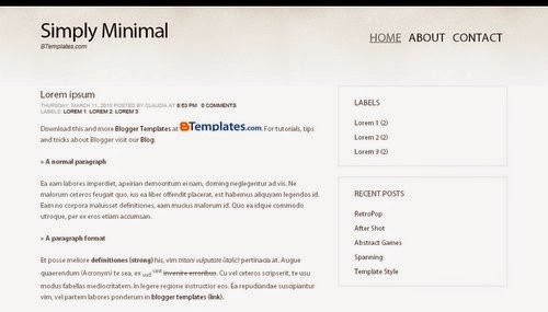 Simply Minimal - Free Blogger Template