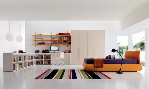 white wall bedroom colors with orange platform bed design