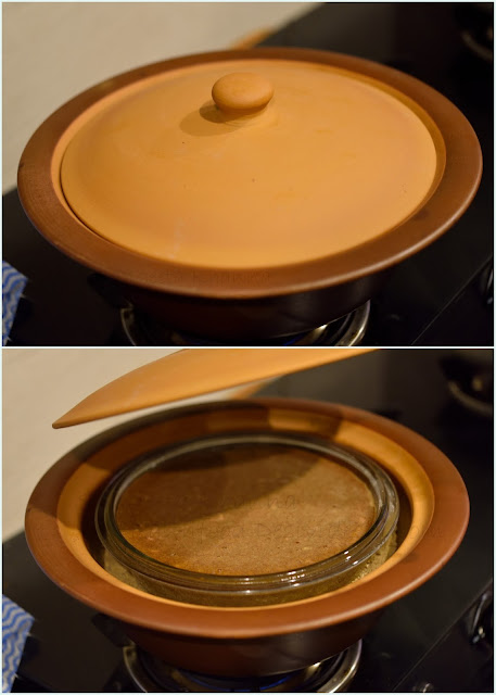 baking cake in a pan