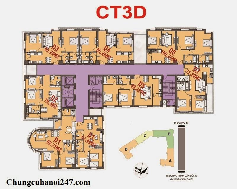 Chi tiết mặt bằng thiết kế toà CT3D Cổ Nhuế, Chung cư Hoàng Quốc Việt Residentials