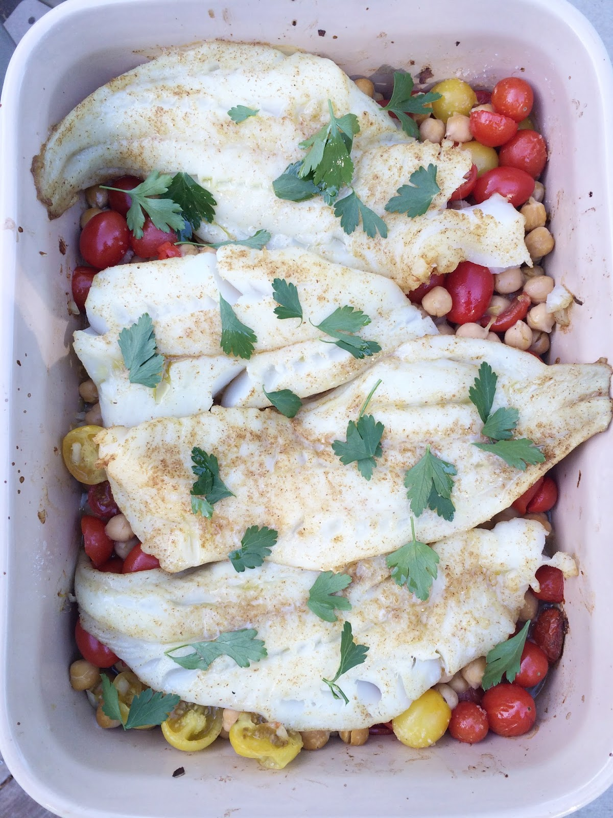 Spice and Sass: Baked Fish With Chickpeas and Cherry Tomatoes