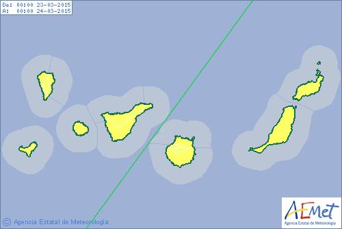 alerta lluvia en canarias lunes 23 marzo