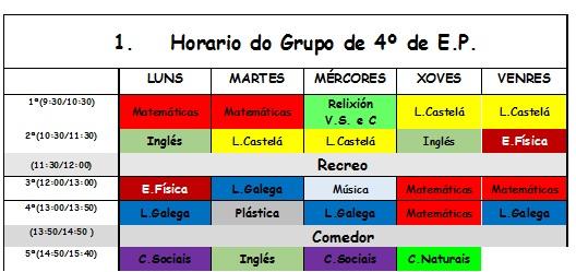 HORARIO 4º CURSO