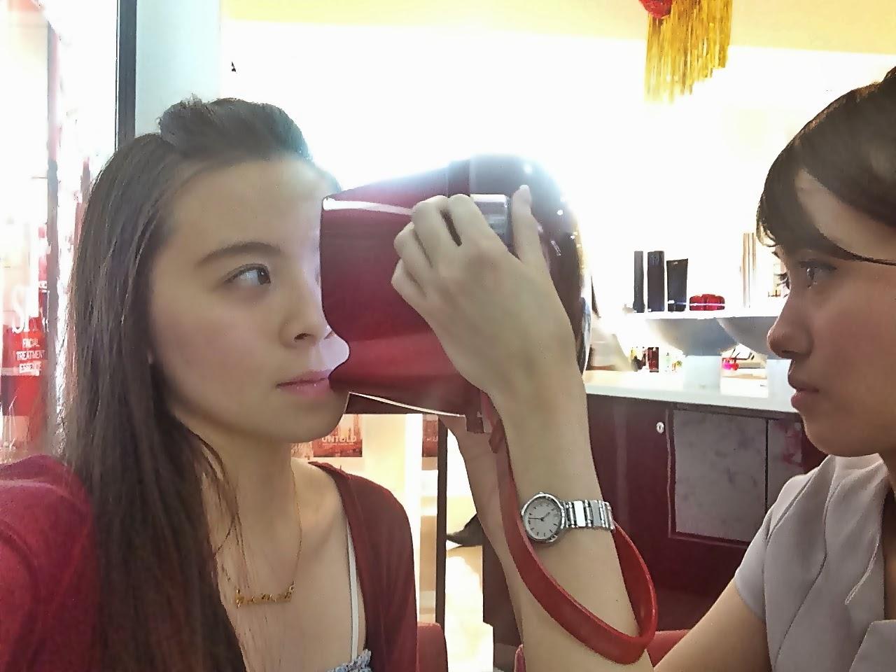 Girl testing skin