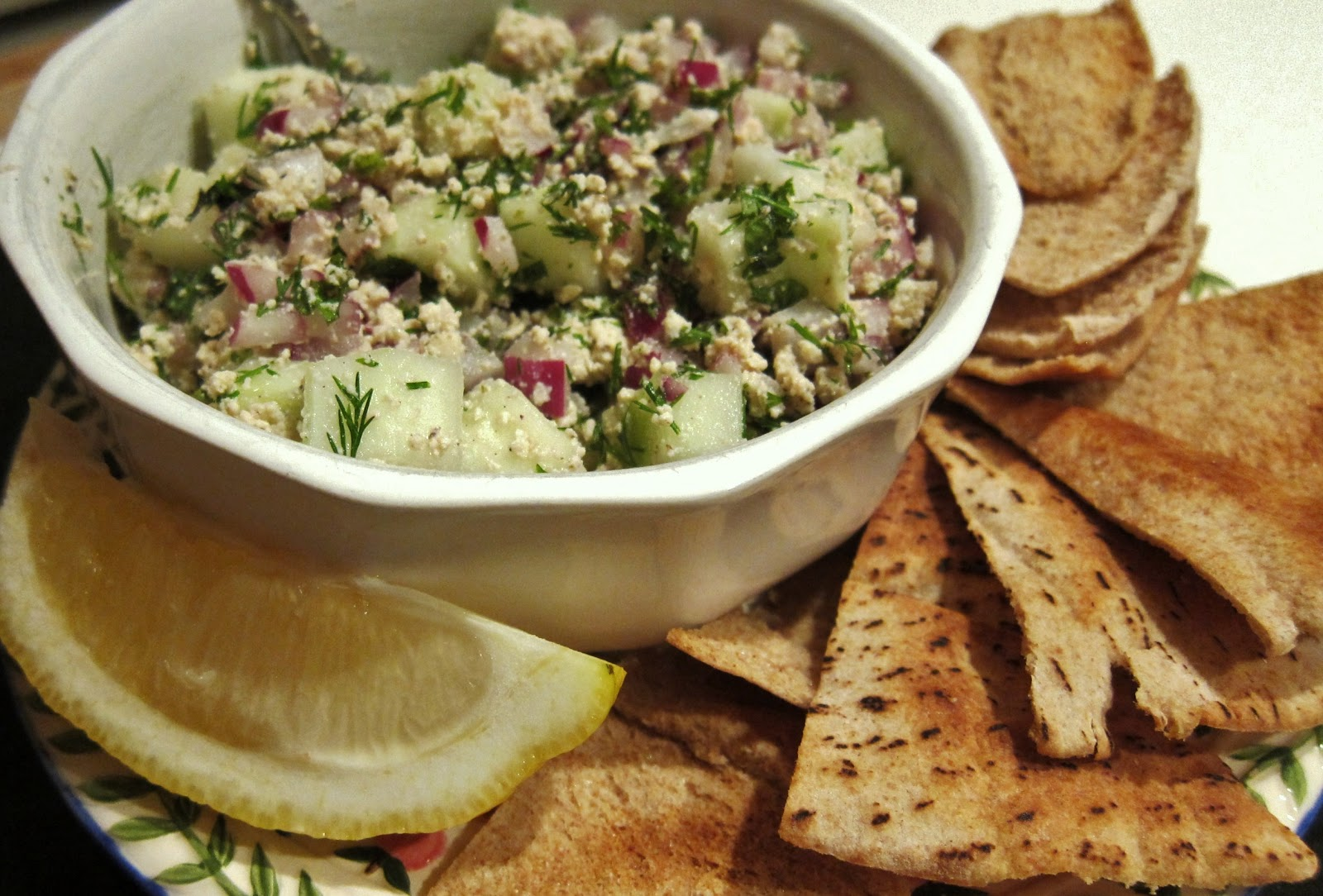 The Vegan Chronicle: Cucumber-Feta Salsa with Pita Crisps