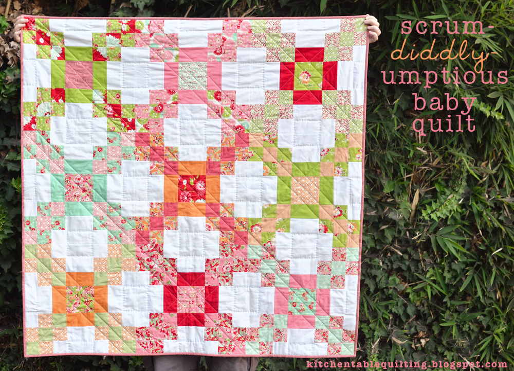 Scrum diddly umptious baby quilt kitchen table quilting for Kitchen quilting ideas