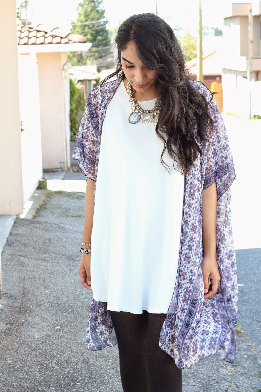 floral kimono outfit with white dress www.footnotesandfinds.com