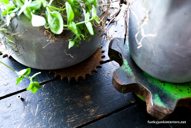 rusty gears cogs / indoor herb garden planted in old kettles via Funky Junk Interiors