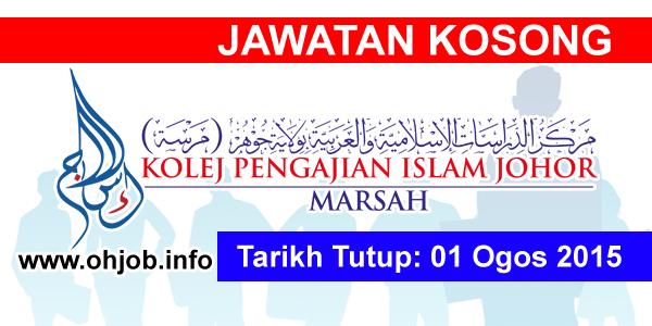 Jawatan Kerja Kosong Kolej Pengajian Islam Johor (MARSAH) logo www.ohjob.info ogos 2015