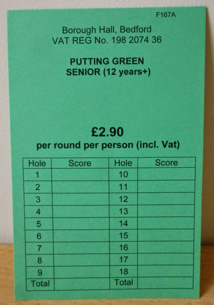 Scorecard from the Mini Golf Putting Course at Russell Park in Bedford