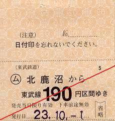 東武鉄道 常備軟券乗車券11 日光線 北鹿沼駅