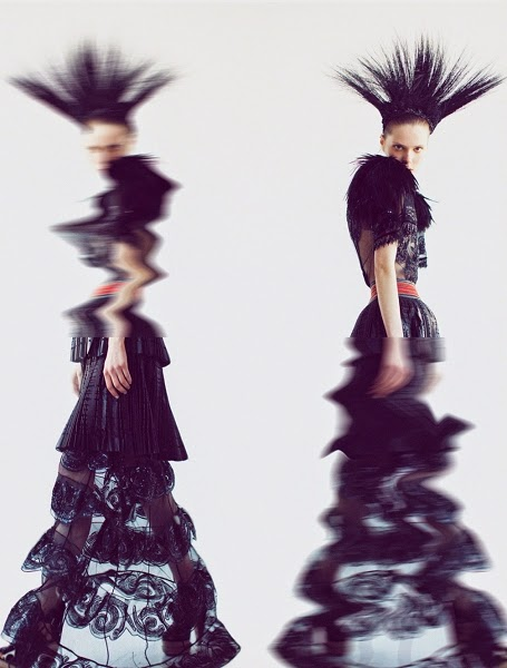 Louis Vuitton 2014 SS Editorial: Black Beaded Sheer Mesh Maxi Dress With Feathers on Shoulder