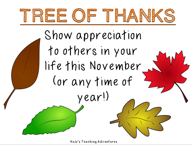 """Need to boost staff morale? Or perhaps your classroom could use a lift this November? Either way, you're going to LOVE this idea! Create a tree, cut out the FREE leaves provided, and give others """"thanks"""" for all they've done for you or your students! It's a great Thanksgiving tradition to start in your classroom or school this year!"""
