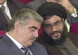 Rafiq Hariri with Hassan Nasrallah