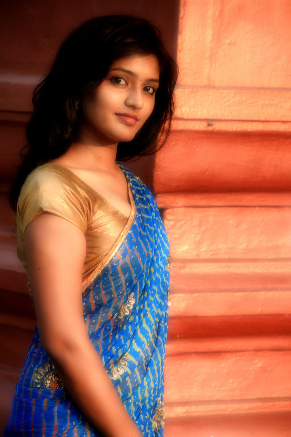 Tollywood Actress Eesha in Blue Saree and Golden Blouse