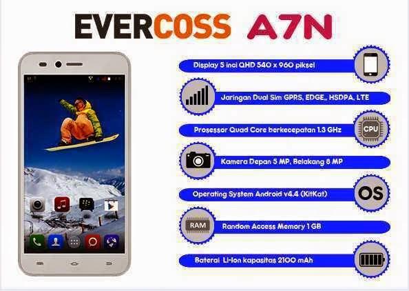 Evercoss A7N, HP Spesifikasi Handal Harga Murah 1,5 Jutaan