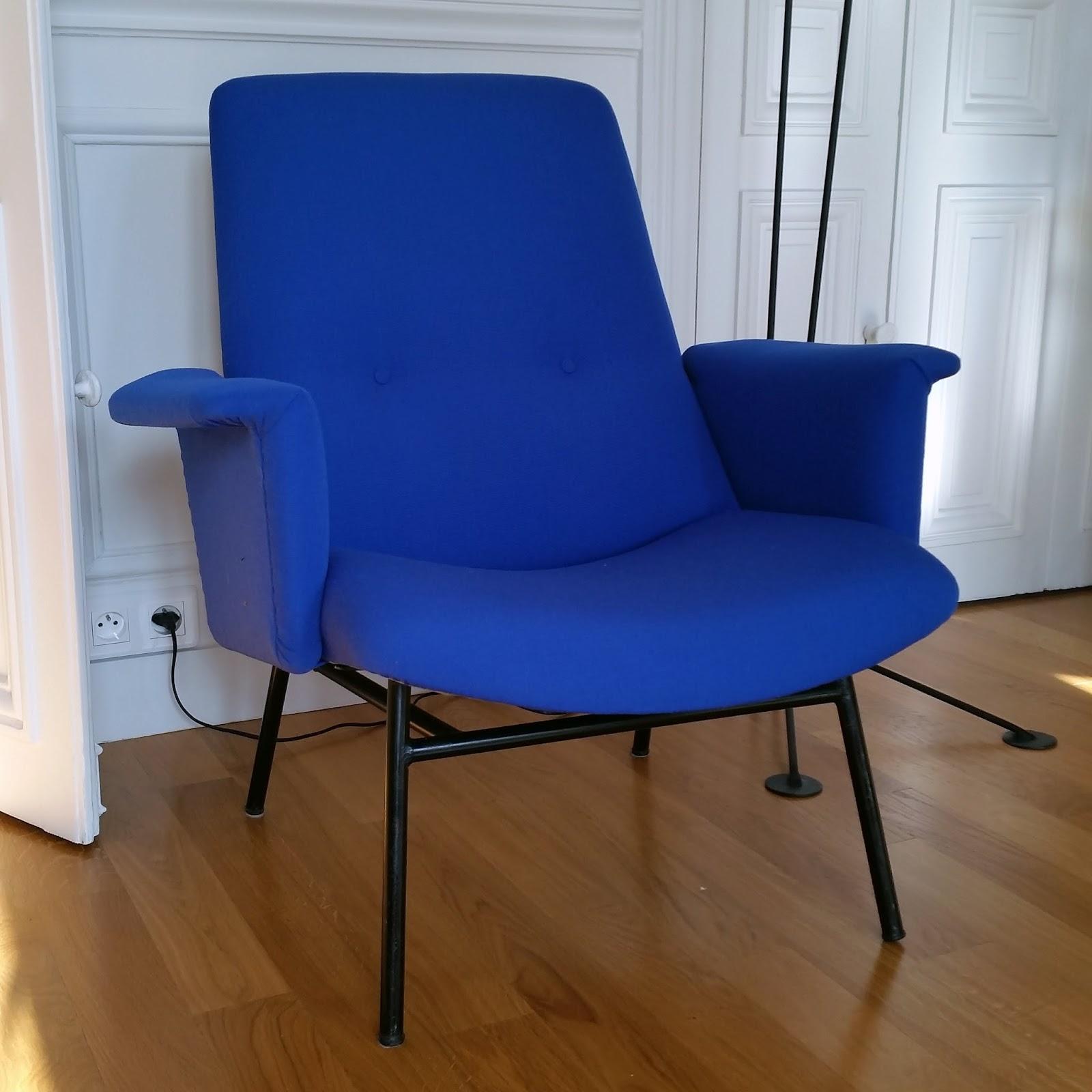 avant apr s fauteuil sk660 pierre guariche atelier velvet artisan tapissier paris 10e. Black Bedroom Furniture Sets. Home Design Ideas
