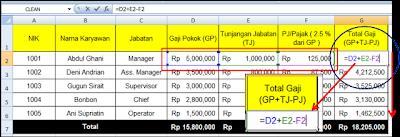 rumus total gaji excel 2007
