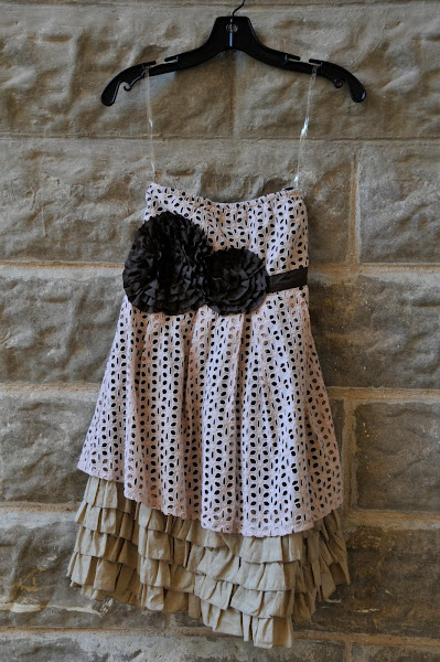 Sweet strapless dress with chocolate flowers and butter ruffles underneath
