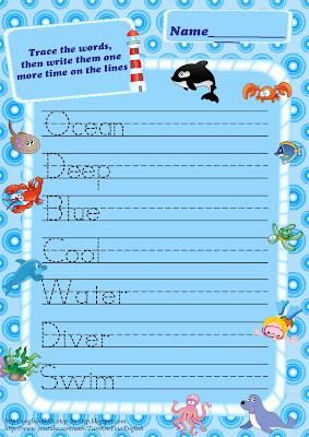 sea animals trace words handwriting worksheet