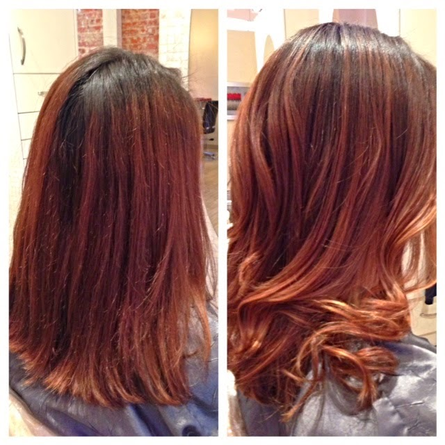 Ombre hair color done naturally with highlights.