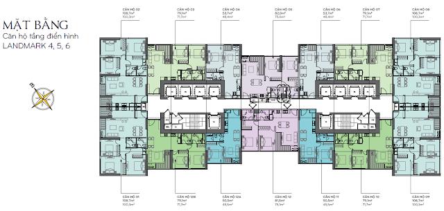 Căn hộ Landmark 4, 5, 6 - mặt bằng tầng Căn hộ tầng điển hình