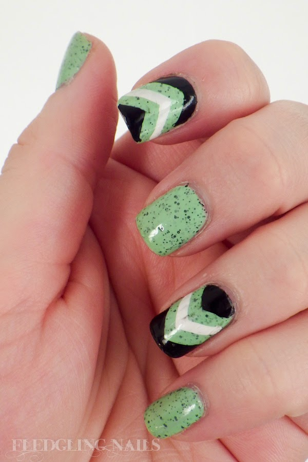 Fledgling Nails: Nail Art: Speckled Green, Black and White Chevrons