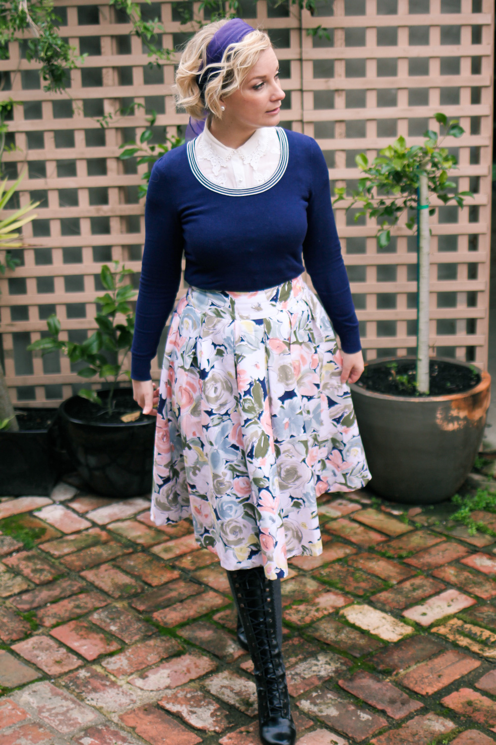 @findingfemme wears winter styled Modcloth lace collar blouse, navy jumper and floral skirt by Review Australia.