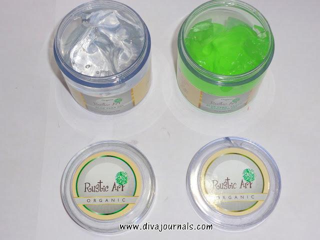 Rustic Art Organic Aloe vera & Aloe vera-Peach-Avocado Gels Review