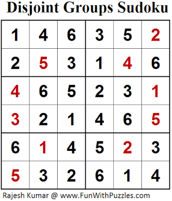 Disjoint Groups Sudoku (Mini Sudoku Series #69) Answer