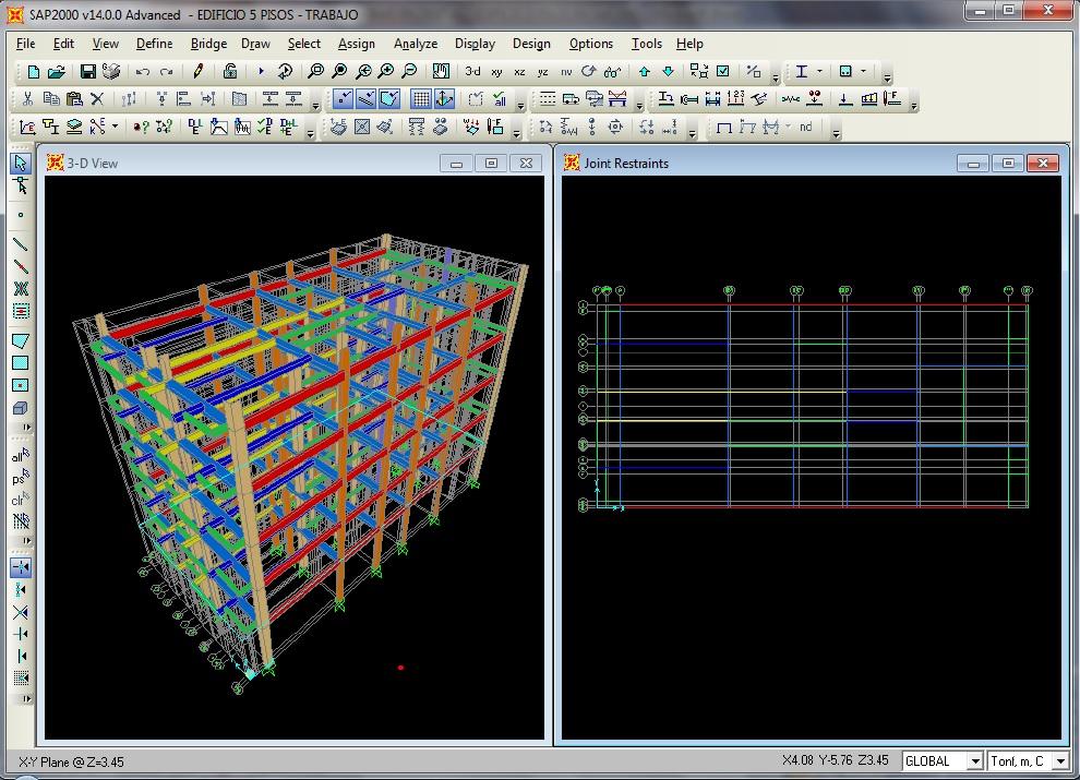 Modelo estructural edificio SAP2000