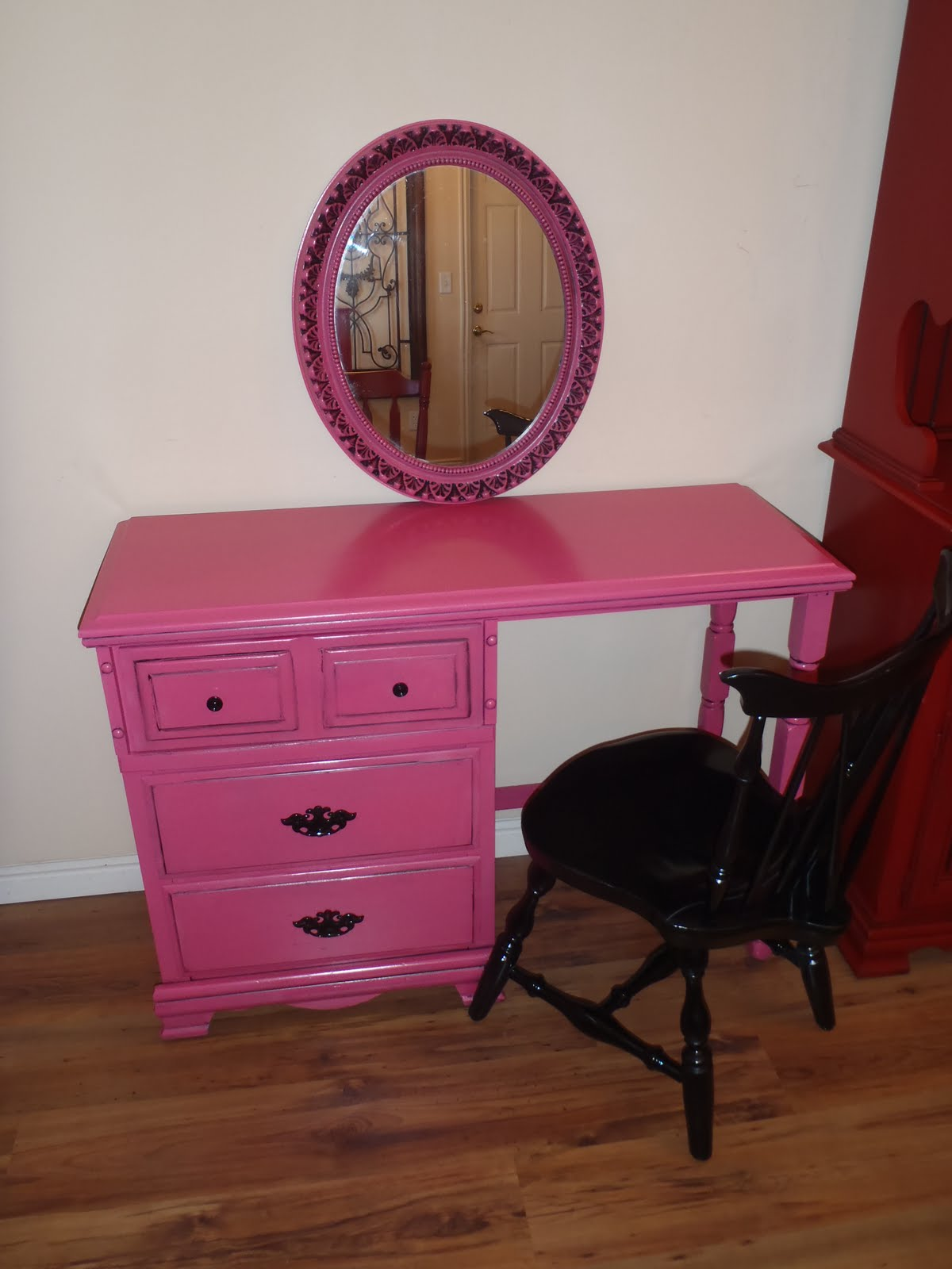 lost n 39 found furniture hot pink vanity desk