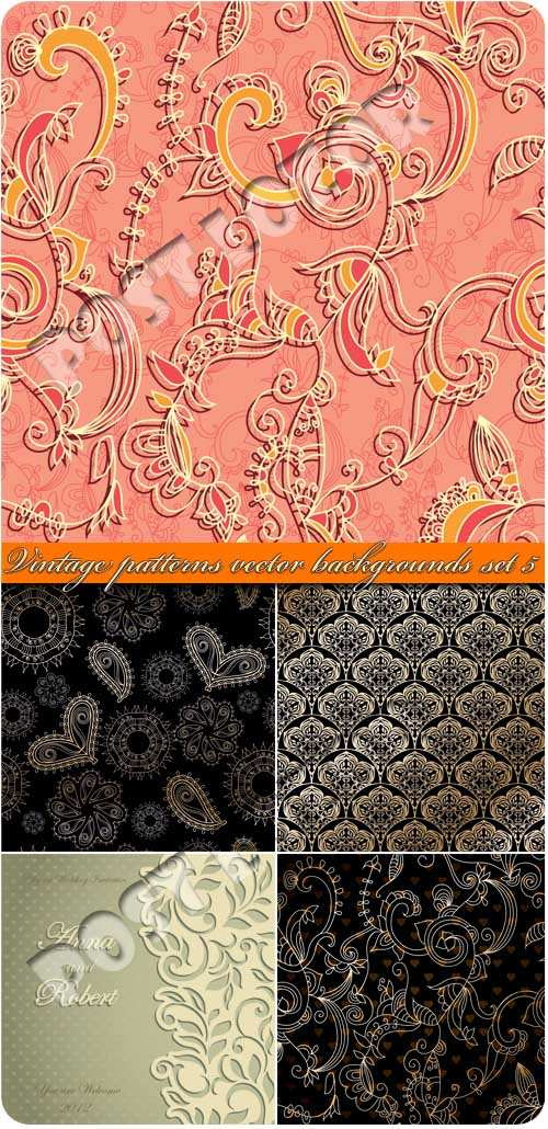 Vintage Patterns Vector Backgrounds Set 05