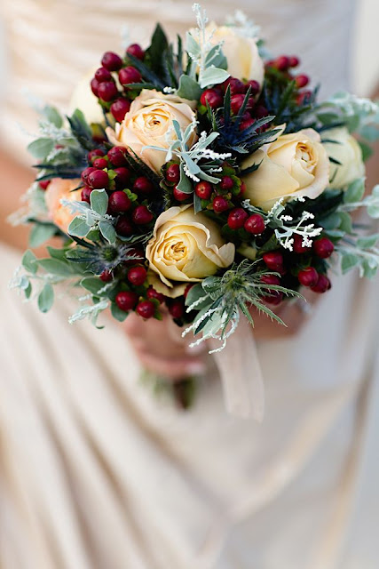 Christmas themed wedding bouquet