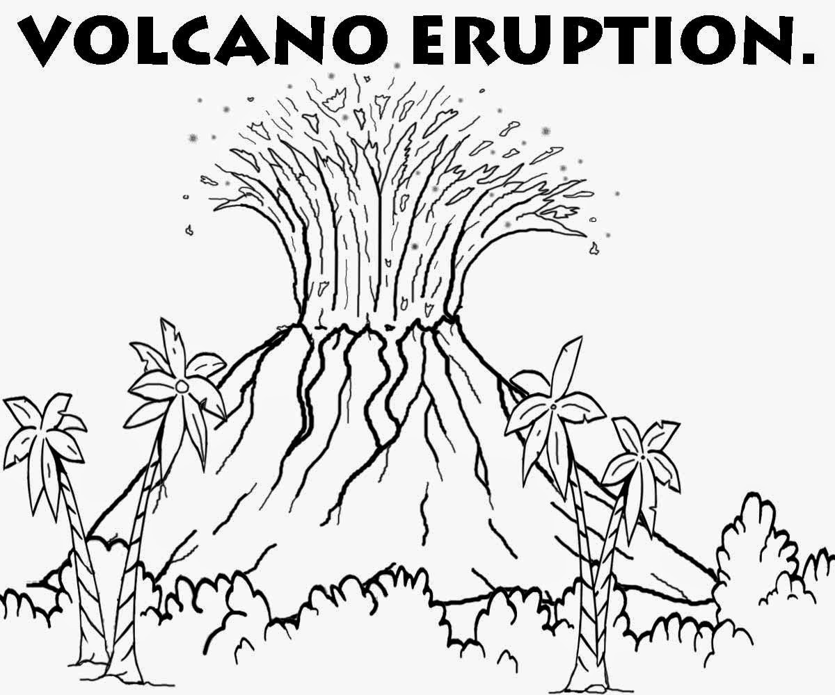 Line Drawing Volcano : Free coloring pages printable pictures to color kids
