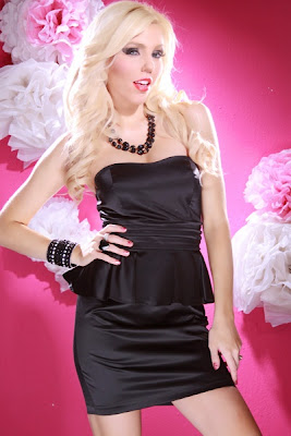 BLACK SATIN PLEATED WAIST SEXY STRAPLESS PEPLUM MINI DRESS
