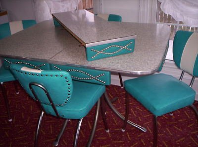 vintage kitchen formica table 4 chairs turquoise blue
