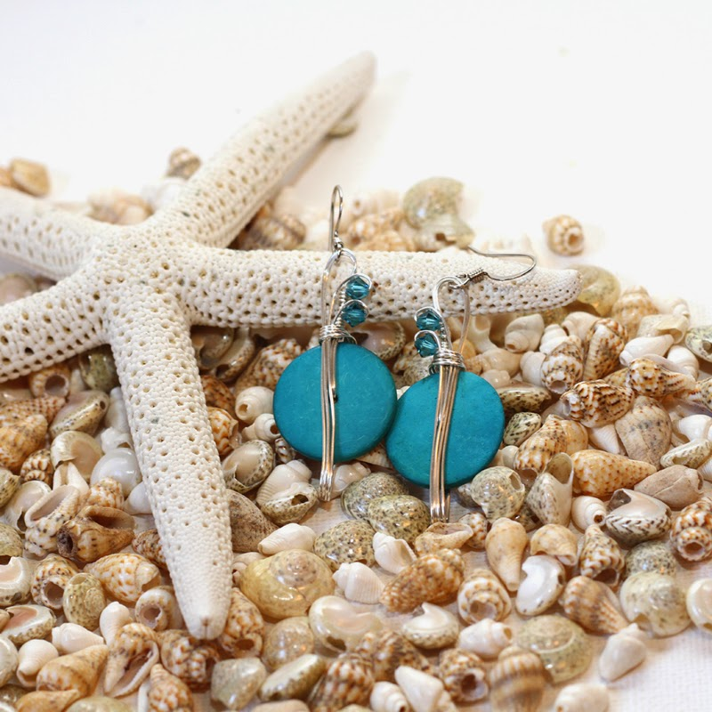 turquoise earrings, coconut shell earrings
