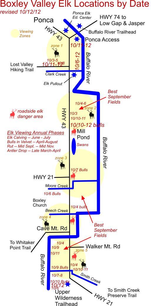 10/12/12 Elk Herd Locations in Boxley Valley near Ponca, AR