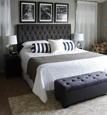 In my quest for inspiration to show my son how we could turn this room into  a space that he (and I) could live with, I came across some masculine  bedrooms ...