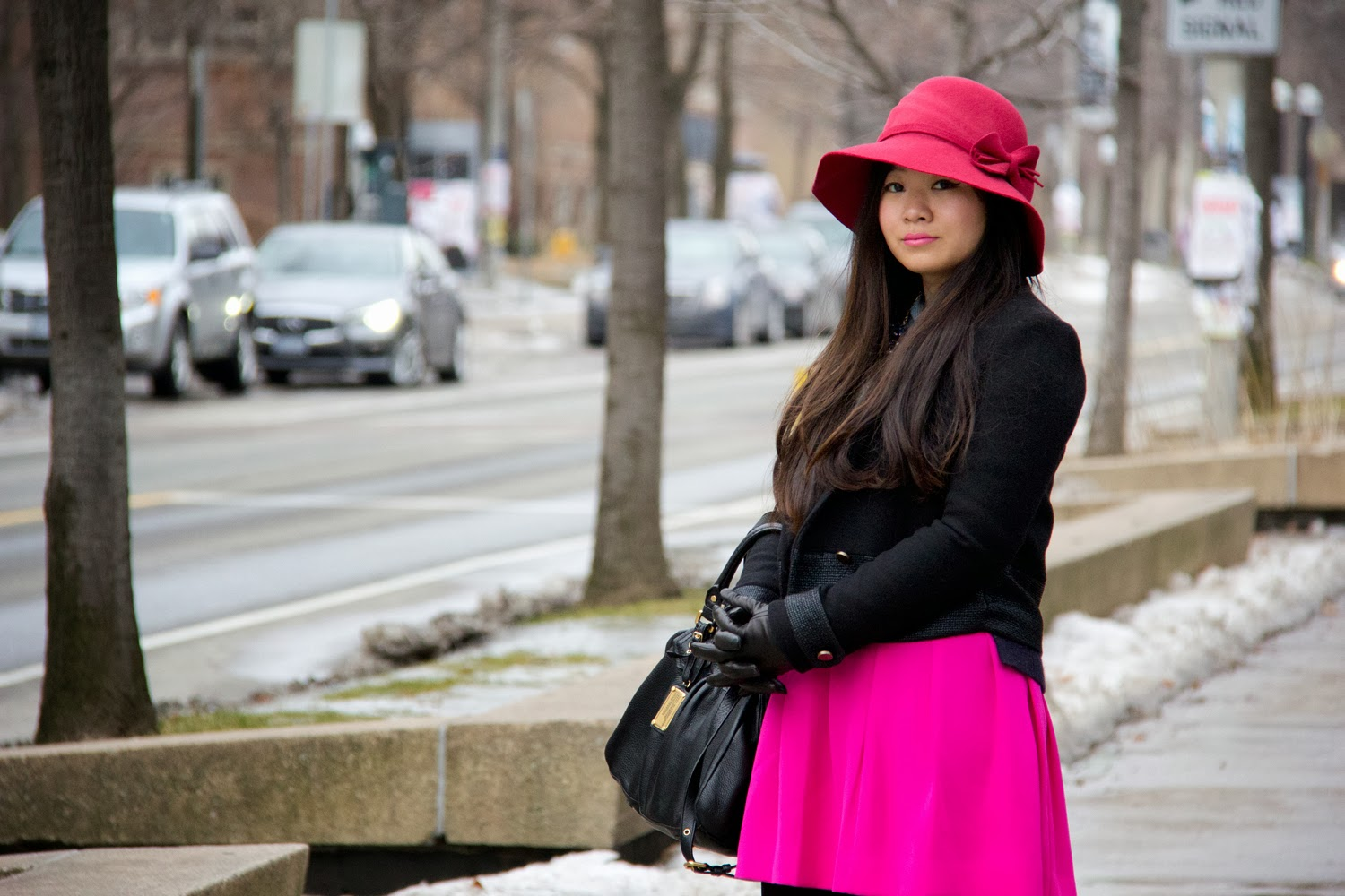Anthopologie-Hat, Zara-Wool-Jacket, JCrew-Hot-PInk-Skater-Skirt, Marc-By-Marc-Jacobs-Bag