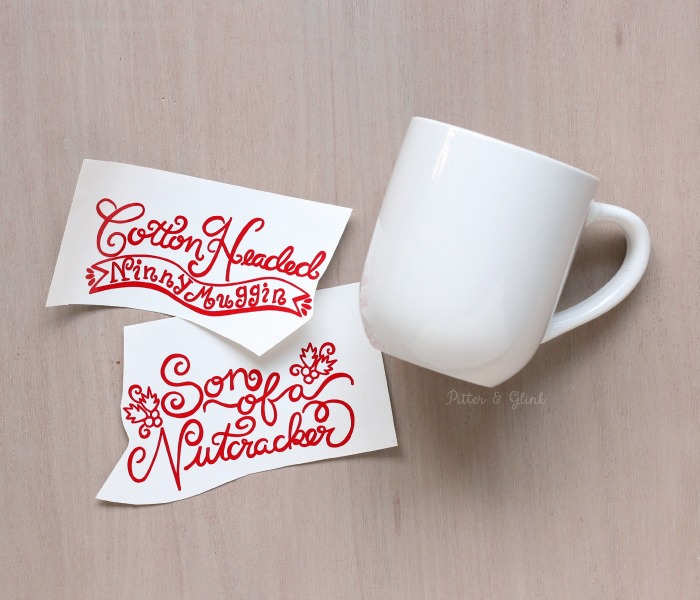 DIY Hand-Lettered Christmas Mugs with Free Silhouette Cut File | www.pitterandglink.com
