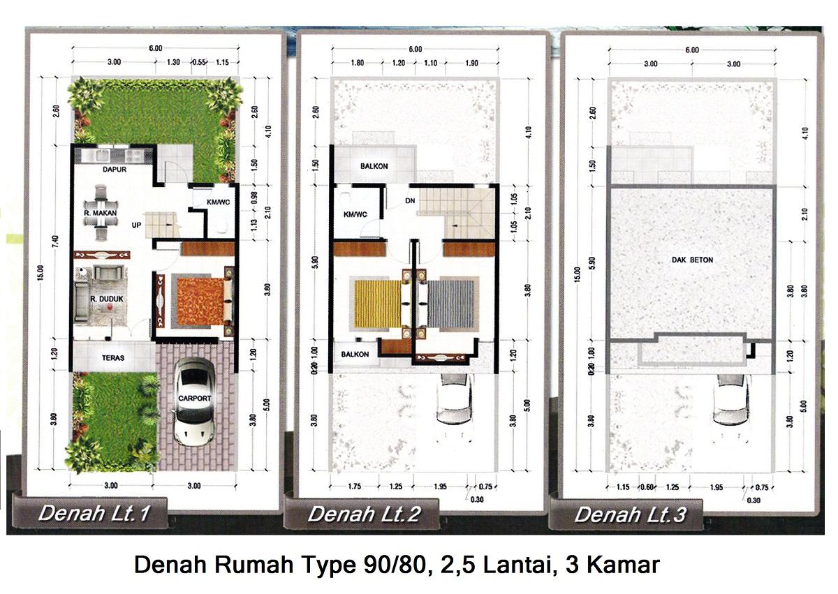 denah rumah minimalis modern 2 lantai type 45 90 100
