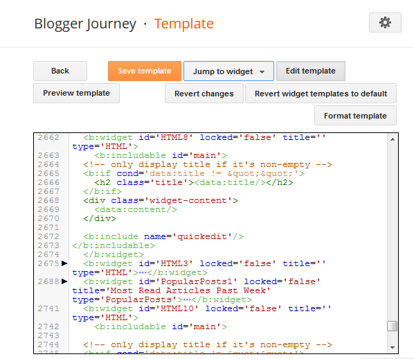 Blogger Widget codes, first line at the very top
